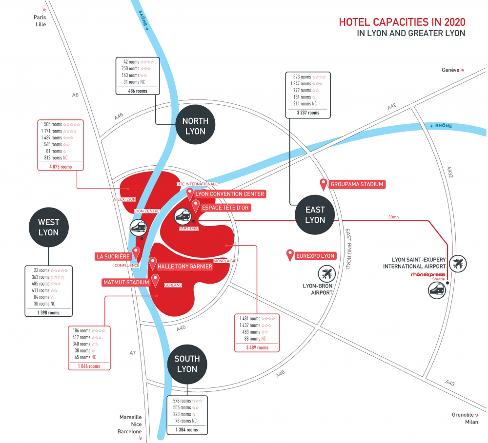 Hotel capacities in Lyon and Greater Lyon - the map
