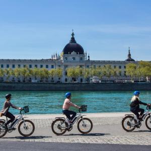 Visite guidée à vélo électrique - Berges du Rhône © Mobilboard